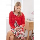 Ladies Cardigan with crocheted flowers 9405