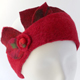 Headband with hand-felted leaf elements : red