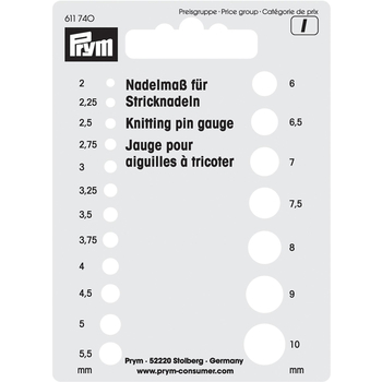 Prym Knitting pin gauge
