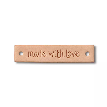 "Prym étiquette ""made with love"" - cuir - rectangulaire"