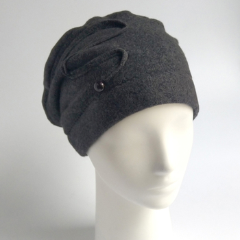 Beanie from organic cotton fleece - anthracite