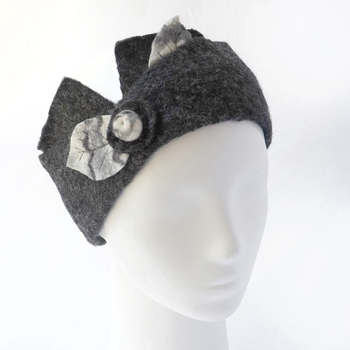 Headband with hand-felted leaf elements