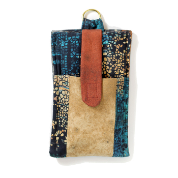 """Mosaic"" - Sturdy smartphone case with extra pocket for headset - Size L"