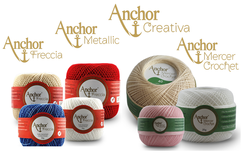 Anchor crochet threads: Freccia and Mercer Crochet in all available colors and thicknesses
